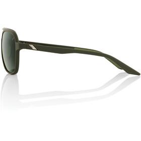 100% Kasia Aviator Round Glasses soft tact army green/smoke